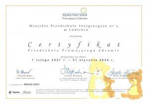 promocja zdrowia -certyfikat